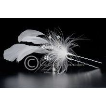 wedding bridal hair pin stick ivory feathers crystal jewels sprays ...