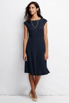 Women's Knit Flounce Skirt Dress from Lands' End ... the same is true for this dress as the last one... very flattering.