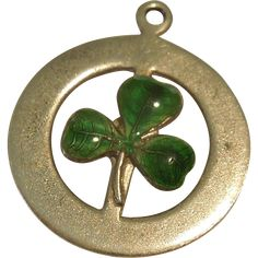 Three-leaf Clover or Shamrock Sterling Silver and Green Guilloche Enamel Charm - Irish, St. Patrick's Day  -- found at www.rubylane.com #vintagebeginshere