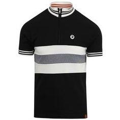 Ska /& Soul Mens Black Chequerboard Twin Stripe Cycling Shirt