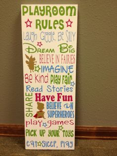 Personalized Wooden Playroom Rules Sign by SwirlyTwirlyDesigns, $50.00