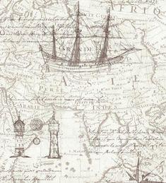 Papel pintado marinero mapas antiguos y barcos estilo navy - 1143187
