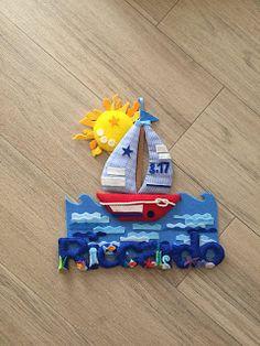 partyandcraft: anticipo d'estate fiocco nascita, baby announcement, name banner, seal, ship, navy, kids,