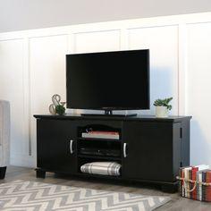 "Walker Edison 60"" Wood Storage TV Stand Console, Black"
