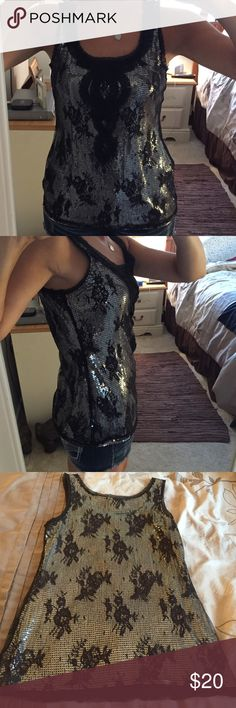 Gorgeous White House Black Market Tank Top Gorgeous sequin and lace overlay tank top. Perfect for a dressing up or night out. Worn one time. Smoke free home. No snags or rips. White House Black Market Tops Tank Tops