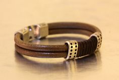 FREE SHIPPING mens leather bracelet with silver plated clasps handmade leather jewellery