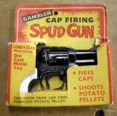 I picked up an interesting spud gun at a junk store last year and finally got a chance to try it out. The gun uses caps to accelerate a small chunk of potatoe.