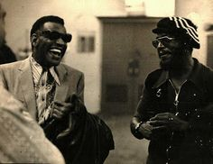 Ray Charles - in the band's dressing room with bone player Al (Sanifu Hall). Photo by alto player Don Garcia (1971 or 1972).