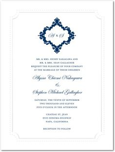 Fanciful Monogram - Thermography Wedding Invitations - Magnolia Press - TH Robins Egg - Blue : Front