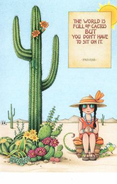 Mary Engelbreit World Is Full of Cactus Blank Greeting Card w Envelope New | eBay