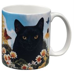 Black Cat Garden Party Fun Mug > Quickly view this special cat product, click the image : Cat mug