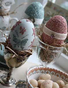 glitter eggs & velvet ribbon