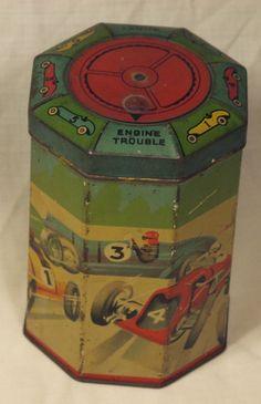antique racing car motor sport game tin 1920's
