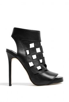 Black Cut-Out Squares Open Toe Stiletto Boots by Camilla Skovgaard