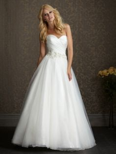 Ball Gown Sweetheart Tulle Satin Sweep Train Ruched Wedding Dresses at Millybridal.com