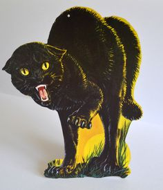 vintage halloween decoration black cat fangs yellow eyes vampire cat by archetypalmarket - Black Cat Halloween Decorations