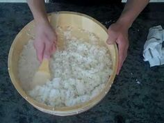 How to make Sushi rice:  This is the proper way to make sushi rice.  Washed thoroughly.  Cooked Properly.  Cut, not stirred.  Perfect sushi rice!