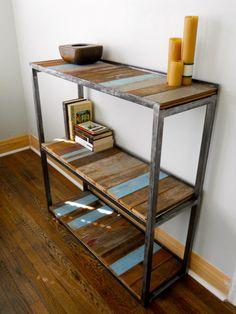 Reclaimed wood bookshelf! Love the added color