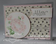 Stampin´UP! jennys_Stempelwelt Grußkarte mit dem Set Geburtstagsblumen in Schiefergrau, Zartrosa und Kirschblüte