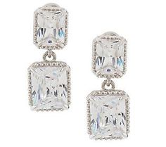 Judith Ripka Sterling 16.0ct Radiant Emerald Cut Diamonique Drop Earrings $94.80 piered or clip.
