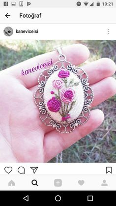 This Pin was discovered by мар Bullion Embroidery, Silk Ribbon Embroidery, Embroidery Jewelry, Embroidery Hoop Art, Cross Stitch Embroidery, Embroidery Designs, Brazilian Embroidery, Cross Patterns, Diy Ribbon