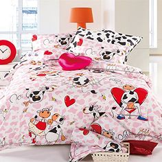 LELVA Cartoon Cotton Bedding Set Childrens Bedding Duvet Cover Set Kids Bedding for Boys and Gilrs Dairy Cow Bedding Twin Full Queen Queen Fitted Sheet >>> Read more at the image link.