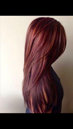 Gorgeous burgundy red hair with blondish undertones