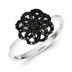 White Night Sterling Silver Black Diamond Ring
