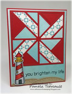 "airbornewife's stamping spot: Day 15 Copic Coloring ""YOU BRIGHTEN MY LIFE"" card using Lawn Fawn Stamps/Dies & Gina Marie Quilt Block"