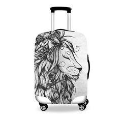 Poetic Lion B&W  Poetic Flamingo  #luggage #cover #art #boho #bohochic #forudesign #loujah