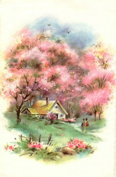 The Best Hearts Are Crunchy: Springtime Blossoms - Pink Saturday Vintage Greeting Cards, Vintage Postcards, Vintage Pictures, Vintage Images, Cottage Art, Storybook Cottage, Vintage Landscape, Watercolor Art, Decoupage