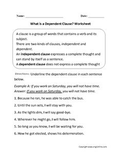 What is Dependent Clause? Worksheet