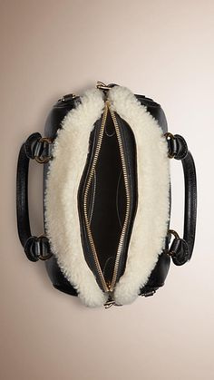 Black/white The Small Alchester in Leather and Shearling - Image 4