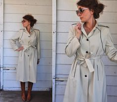 I. MAGNIN 70s Trench Coat with Plaid Nova Check by LaDeaDeiSogni, $128.00