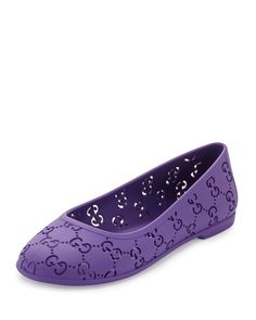 Gucci Rubber GG Ballet Flat, Youth, Girl's, Size: 33 EU / 2 Youth, Purple