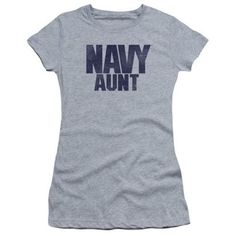 Trevco Navy-Aunt Short Sleeve Junior Sheer Tee, Athletic Heather - Large, Infant Boy's, As Shown