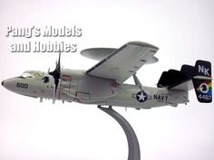 """1:72 Scale Diecast Metal – Northrop Grumman E-2 Hawkeye – Length: 9"""" Wingspan: 13.5"""" This Hawkeye model has an optional landing gear, the model can be displayed with the landing gear extended or retra"""