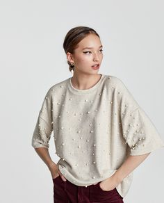 Image 2 of SOFT TOUCH SWEATER WITH FAUX PEARLS from Zara