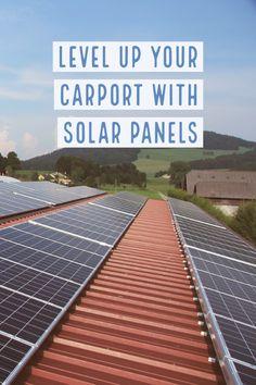 Adding solar panels to your carport, garage, or metal building is an easy way to save on your energy bill. Diy Carport Kit, Carport Garage, Steel Carports, Renewable Energy, Solar Energy, Solar Power, Steel Barns, Carport Designs, Crates