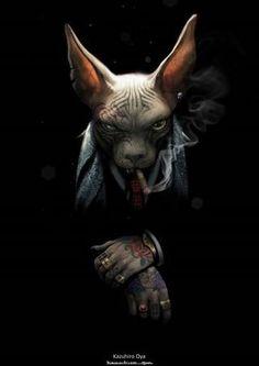 Oscar Grigoriev - Sphynx cat in the image of a man Arte Dope, Dope Art, Furry Art, Arte Fashion, Creation Art, Arte Horror, Fantasy Creatures, Cat Art, Character Art