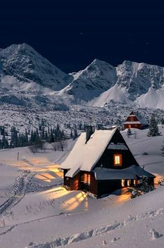 This is gorgeous. The house is so pretty, the scenery beautiful, and I love the light from the windows reflecting on the snow. #snow #winter