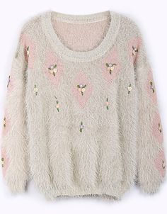 Pink Long Sleeve Diamond Patterned Embroidered Sweater - Sheinside.com
