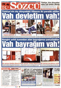 Gazete Manşetleri Sözcü Gazetesi 16.09.2014 TARİHLİ GAZETE