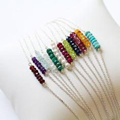 Silver Birthstone Gem Bracelet