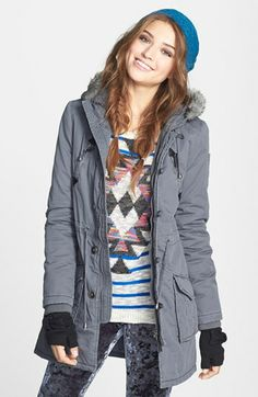 Juniors, I know, but exactly what I'm looking for!  Sashimi Faux Fur Trim Anorak Jacket (Juniors) available at #Nordstrom