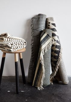 Don´t be afraid to use some textiles and rugs for your design projects! Textiles, Decoration Inspiration, House Doctor, Deco Design, Home Decor Trends, Boho, Bohemian Living, Home Textile, Home And Living