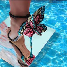 Newest metallic embroidered leather sandals butterfly wings pumps party dress bridal shoes butterfly ankle wrap high heels sandals Bridal Shoes, Wedding Shoes, Pumps, Cute Shoes, Me Too Shoes, Butterfly Heels, Butterfly Wings, Butterfly Fashion, Rainbow Butterfly