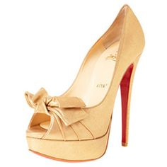 Christian Louboutin Madame Butterfly 150mm Satin Peep Toe Pumps Gold $124.53