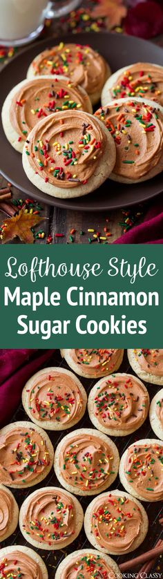Soft Frosted Maple Cinnamon Sugar Cookies - these are melt-in-your-mouth insanely delicious! Love the texture and flavor of these cookies as did everyone else! #maplecinnamon #cookies #sugarcookies #lofthousecookies #fall #recipe via @cookingclassy