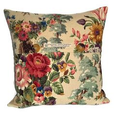 Vintage Sanderson linen roses cushion cover with button fastening - Personal Space Interiors - the home of fabulous handmade vintage, retro and contemporary cushions, curtains and accessories Cushion Fabric, Cushion Pads, Cushion Covers, Pillow Covers, Vintage Floral Fabric, Vintage Fabrics, Nordic Christmas Decorations, Contemporary Cushions, Vintage Cushions